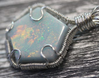 Aurora Opal - silver wire wrapped pendant
