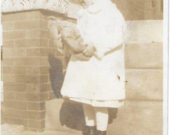 Little Girl and Her Teddy Bear - 1900s - Early Kodak Antique Photo