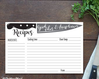 Chef's Recipe Card Good Vibes Sharp Knives , Groomsmen Recipe Gift, Wedding Present for the Chef, Custom Recipe Card 4x6 Printed