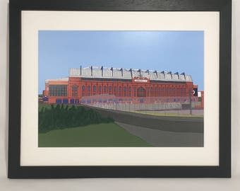 Ibrox Stadium Framed print, Rangers Football club, Glasgow Rangers, Rangers