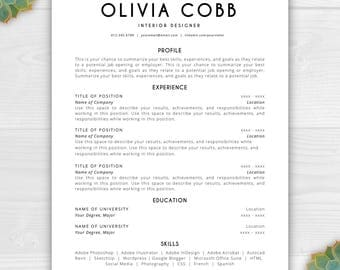 resume template instant download cv template resume template word resume design free - Resume Template For Pages