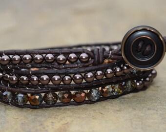 Brown Bling Triple Wrap Bracelet