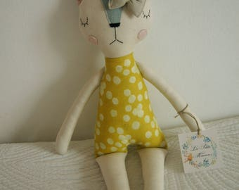 Cat Handmade Doll, stuffed toy, plush cat, stuffed animal, cloth doll, Doll Fabric cat , Linen Dolls,decorative toy, baby gift,girl gift
