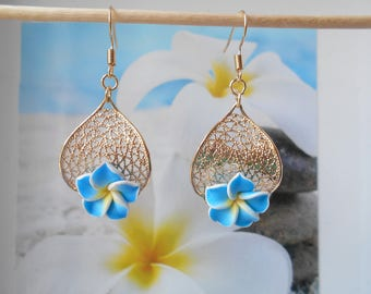 Gold Flower leaf blue polymer clay earrings