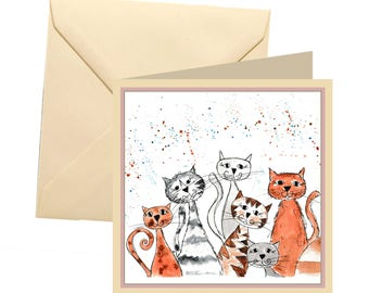 Cat greetings card, blank card, greetings card, thank you card, cat card, birthday card, cat lover