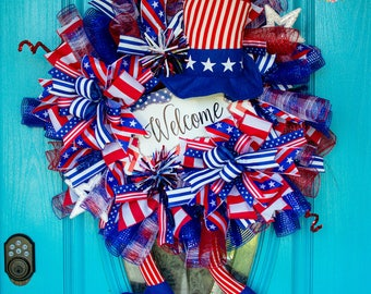 Patriotic Wreath, Mesh Patriotic Wreath, 4th of July Wreath, Independence Day Wreath, American Flag Wreath, USA Wreath, 4th of July Decor