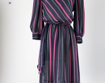 1980s Dress - Striped Midi Dress - Full Skirt - Long Sleeve - Day Dress - Belted Waist - Peasant Sleeve - Small/Medium - Black Pink Purple
