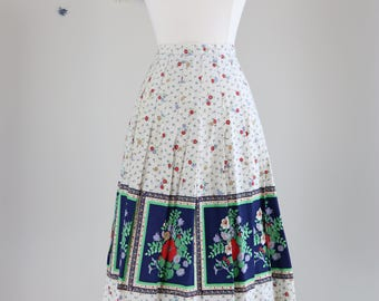 "1950s Skirt - A-line Midi Skirt - Floral Pleated Flare Skirt - Cotton Summer Spring - Mad Men Skirt - Size Extra Small 22"" Waist"