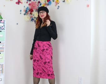 1980s Skirt - Midi Pencil Skirt - Baroque Flocked Floral Design - Bold Pink And Black - High Waisted - Sexy Fitted Skirt - Size Small/Medium