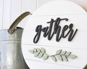 Gather wood sign, Gather sign, Home Decor Signs, Wooden round sign, Wedding gift ideas, Housewarming gift, farmhouse decor
