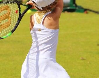 White Tennis Dress Girls Wimbledon with Metallic Gold RacerBack | Girls Tennis Apparel | Junior Tennis Clothes