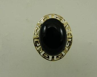 Black Onyx 12.2 x 16.3 mm Ring 14k Yellow Gold