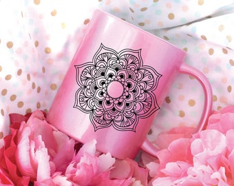 Mandala Pink Coffee Mug, Sublimation Mug, 2 Sided, Metallic Mug, Neon Mug
