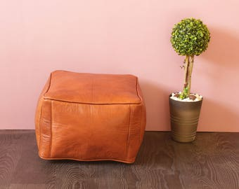Simple Brown Leather Moroccan Pouf, Brown Ottoman, Handmade Leather Pouf