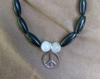 Black Onyx Bracelet with Peace Sign