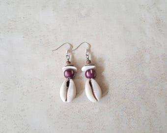 Cowrie Shell Earrings - Shell Earrings - Afrocentric Earrings - Hypoallergenic Earrings - Tribal Earrings - Chic Earrings - Cowry Earrings
