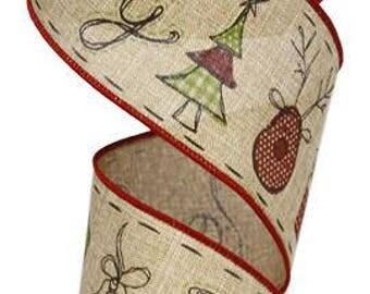 RIBBON - Wired Ribbon - Red Ribbon - Floral Ribbon - Wreath - Christmas Ribbon - RG01263K5