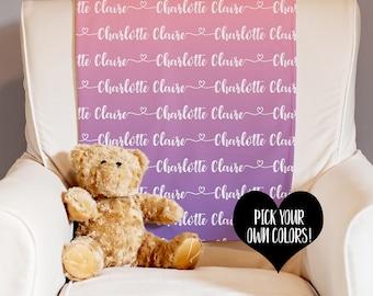 Personalized Blanket - Baby Name Blanket - Receiving Blanket - Swaddle Blanket - Baby Shower Gift - New Baby Gift - Custom Baby Blanket