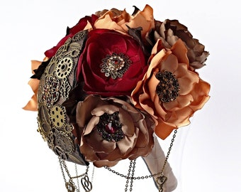 SteamPunk Brooch Bouquet, Fabric, Silk, Rustic Bouquet, Unique Wedding Bridal Bouquet, wine, brown, boutonniere