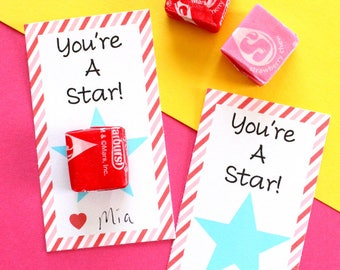 INSTANT DOWNLOAD-You're a Star valentines day tag, starburst valentines tag, kids valentines day tag, favor tags