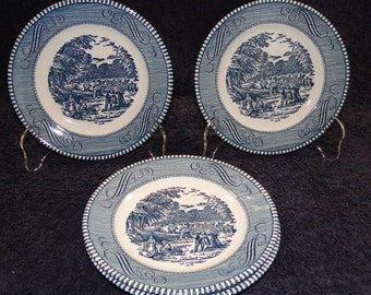 FOUR Royal China Currier Ives Blue & White Bread Plates The Harvest Set of 4 EXCELLENT!