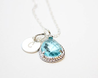 personalized bridesmaid initial necklace, bridesmaid aquamarine initial necklace, sterling silver bridesmaid aquamarine necklace, bridesmaid