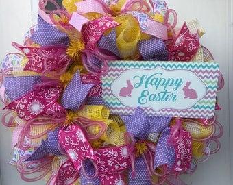 Easter Wreath for Front Door, Easter Wreath, Front Door Easter Wreath, Spring Wreath, Easter Deco Mesh Wreath, Spring Deco Mesh Wreath
