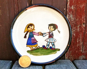 Small Ceramic Hand Painted Children Spanish Wall Plate, Ceramic Plate, Vintage Wall Plate, Wall Decor, Hand Painted Plate, Mexican Red Ware