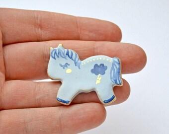 Ceramic Pony Brooch, Pony Jewelry, Horse Jewelry, Miniature Ceramic Animal, Animal Lover Gift, Horse Pin, Tiny Ceramic Animal, Tiny Art