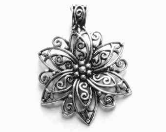 Antique Silver Large Flower Pendant, Flower Jewelry, Silver Flower Necklace, Woman's Gift, Silver Flower Charm, Large Flower Pendant, Flower
