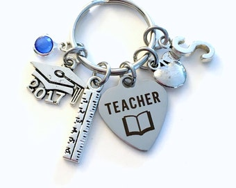 Teacher Graduation Gift Keychain, 2017 2018 Principal Teach Ruler Apple charm Key chain Keyring Grad birthstone Initial letter for her women