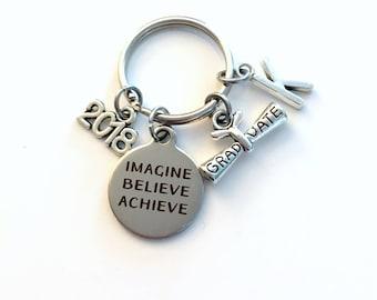 Graduation Gift for Him Keychain, Imagine Believe Achieve 2018 Scroll key chain Keyring women letter initial custom Men College University