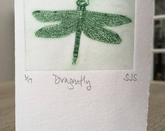 Hand Printed Dragonfly Card, Handmade Dragonfly Card, Dragonfly, Single Printed Dragonfly card, Individual Dragonfly card, Dragonfly Card