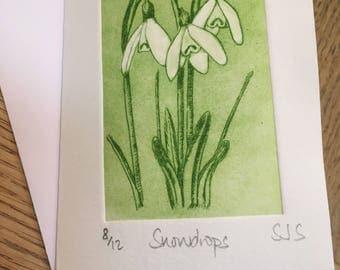 Hand Printed Snowdrop Card, Handmade Snowdrop Card, Snowdrops, Single Printed Snowdrops card, Individual Snowdrops card, Snowdrop Card