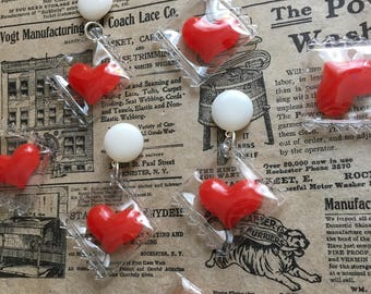 NEW!! Valentine Hearts Earrings - Pinup, Rockabilly, VLV