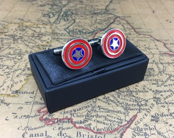 Captain America Cufflinks Shield Marvel Father Thank You Gift Gents Gift Boxed Cuff Links Perfect for Wedding Birthday Fathers Day Christmas