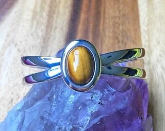 Tiger Eye Bracelet Tiger Eye Jewellery Adjustable Bracelet Torque Bracelet Gemstone Bracelet Crystal Jewellery Womens Jewellery SPB87