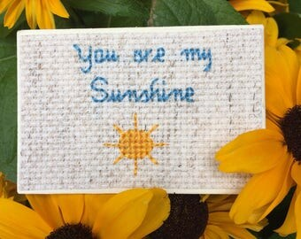You Are My Sunshine Magnet, Quote Magnet, Cross Stitch Art
