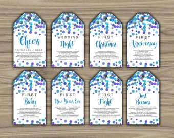 Milestone Wine Tags - Confetti- Bridal Shower - Gift Basket Tags - 1st Year Milestones - Year Of Firsts - INSTANT DOWNLOAD - PRINTABLE - L57