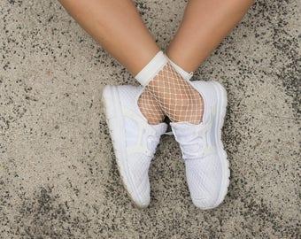 White fishnet ankle socks