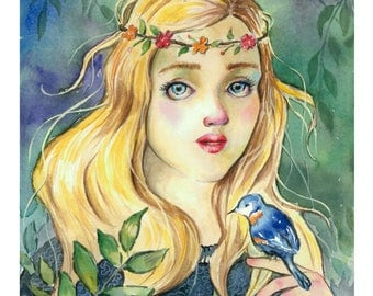 Heir to the throne, Watercolor painting, forest, bird, fantasy, leaves