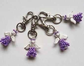 Guardian Angel,Bag charm, Angel charm,Birthday present, Purple guardian angel, Tree decoration. teacher gift,zipper pull