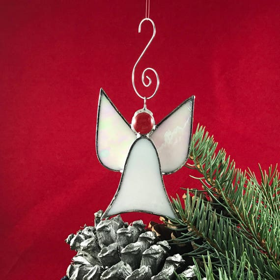 Baptism Ornament Christmas Ornament By Ryellecreations On Etsy: Angel Christmas Tree Holiday Ornament Stained Glass White