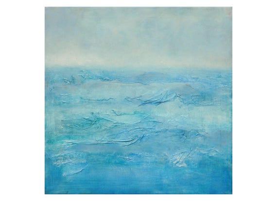 Tableau peinture mer vagues ciel bleu blanc turquoise paysage - Tableau bleu turquoise ...
