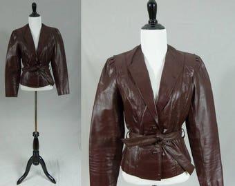 70s Leather Jacket - Deep Burgundy Red - Oxblood Maroon Wine - Berman's Fitted Coat - Vintage 1970s - XS S