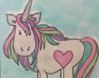 Unicorn Dreams 5x7 (matted 8x10) Original Watercolor