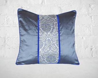 Decorative Luxury Pillow, Silk Cushion, 18X18 Pillow, Bed Pillow, Grey Pillow, Accent Pillow, Designer Pillow, Toss Pillow, Pillow Sham