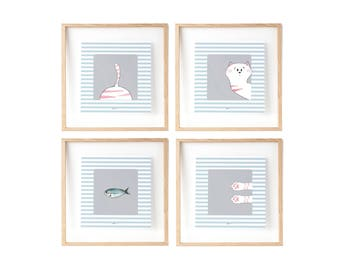 4 Cat print | Wall Decor Kids | Cute Kids Illustration | Little cute cat| Pink nursery | Funny cat illustration | Gift Idea cats lovers