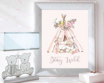 Nursery Wall Art, Christmas gift baby, Baby Girl, Tribal Nursery Art, Nursery Decor, Stay Wild, Pink Nursery, Fox Nursery, N103