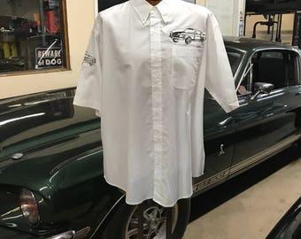 "Muscle Car Men's Shirt By Maria B. Hand Drawn Screen Print ""VINTAGE METAL"" Shelby Mustang Classic Car White Shirt. Size XL. Sale."